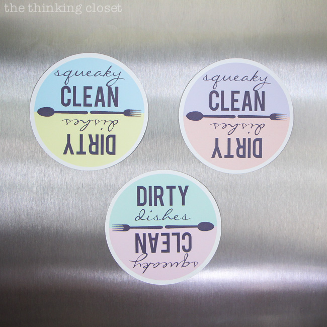 Never mix up the clean and dirty dishes again! This tutorial includes both a Silhouette cut file and a FREE printable for those who want to cut out the magnets the old-fashioned way: with scissors! These would make great shower, housewarming, or hostess gifts!