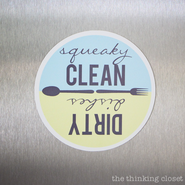 Now, I will never mix up the clean and dirty dishes again! Now I will never mix up my clean and dirty dishes again!  Here's a fantastic step by step tutorial for using Silhouette Printable Magnet Paper to create Dishwasher Magnets. Free cut file and printable included. These would make great shower, housewarming, or hostess gifts!