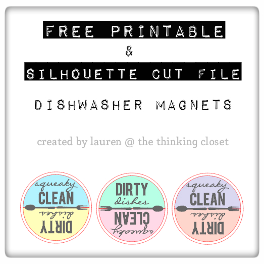 FREE Printable & Cut File for Silhouette Studio: Clean & Dirty Dishwasher Magnets in 3 color combinations. Such a great shower or hostess gift idea!