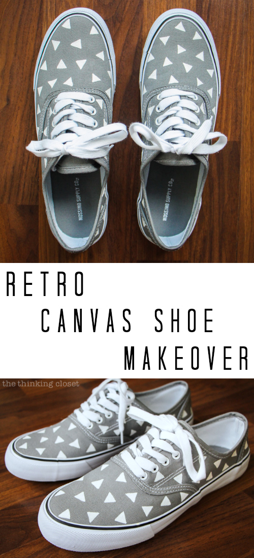aeeca87e9f73b9 Retro Canvas Shoe Makeover  easy and entertaining tutorial by Lauren from  thinkingcloset.com