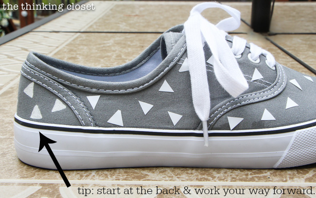 Tips for a Retro Canvas Shoe Makeover via thinkingcloset.com