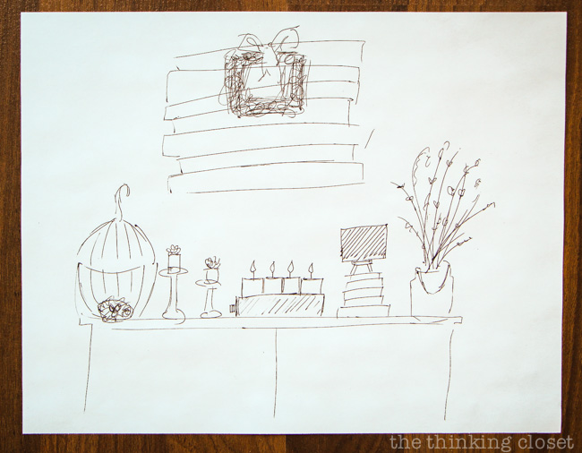 Rough sketch plotting out my Rustic Vintage Spring Mantel via thinkingcloset.com
