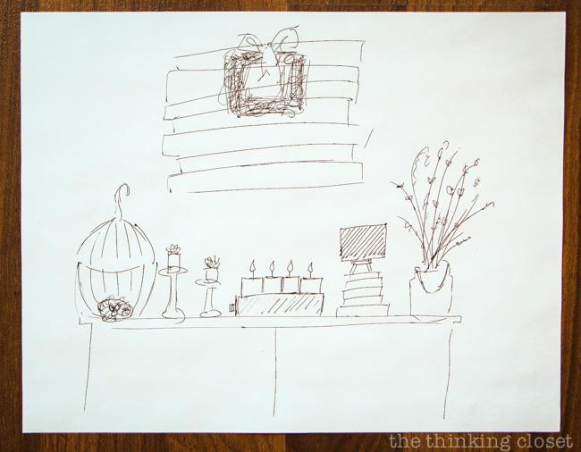 Rough sketch plotting out my Rustic Vintage Spring Mantel via thinkingcloset.com
