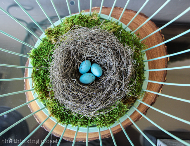 Rustic Vintage Spring Mantel: How sweet are these turquoise Robin's eggs in the handmade nest?  via thinkingcloset.com