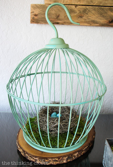 Rustic Vintage Spring Mantel: I heart this minty birdcage! via thinkingcloset.com