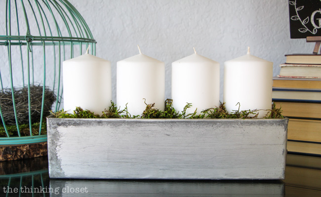 Rustic Vintage Spring Mantel: Love the idea of using an industrial drawer to display pillar candles! via thinkingcloset.com