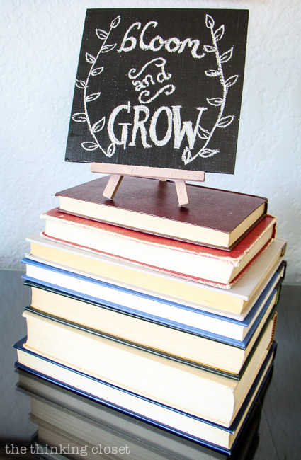 Rustic Vintage Spring Mantel: Vintage books are the perfect platform for displaying a DIY chalkboard! via thinkingcloset.com
