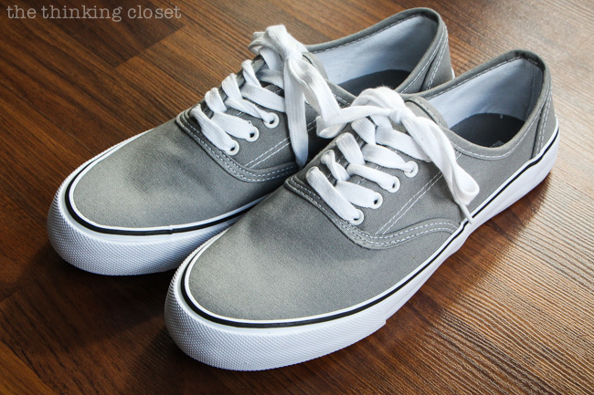 Gray canvas shoes from Target...just yearning for a makeover! via thinkingcloset.com
