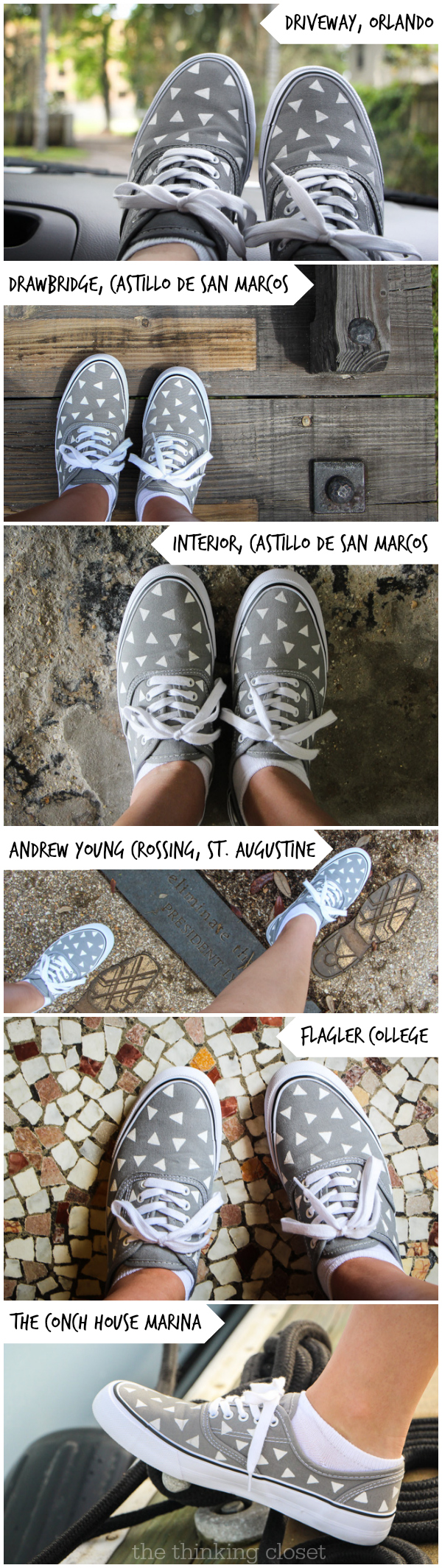 "Retro Canvas Shoe Makeover: ""These shoes were made for walking..."" via thinkingcloset.com"