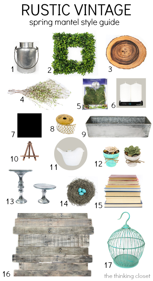 Rustic Vintage Spring Mantel: Style Guide & Source List via thinkingcloset.com