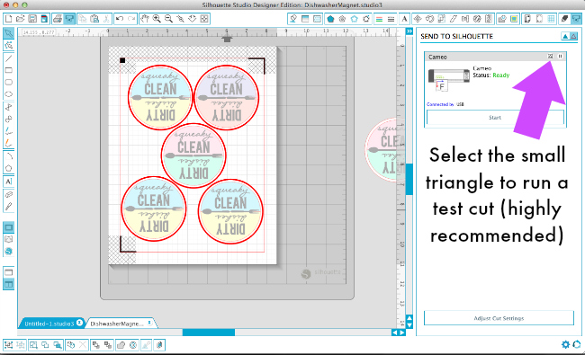 How to make a test cut in the V3 software for Silhouette Studio via thinkingcloset.com
