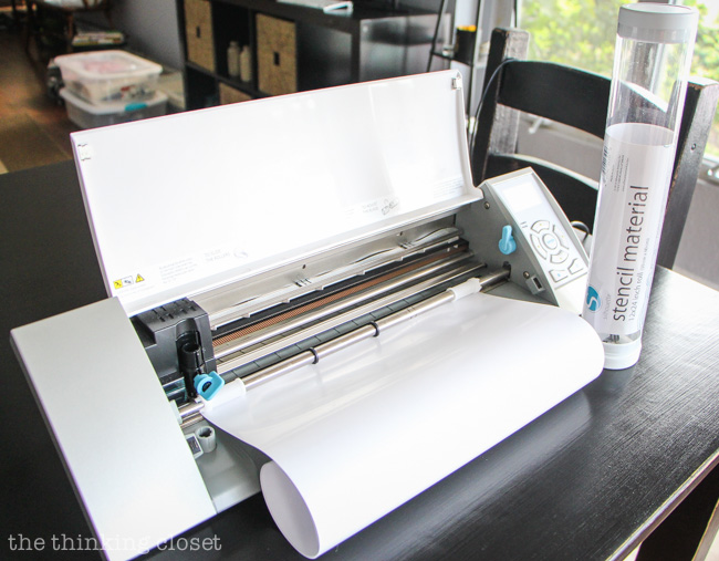 The Silhouette stencil material comes on a roll...so no mat needed!