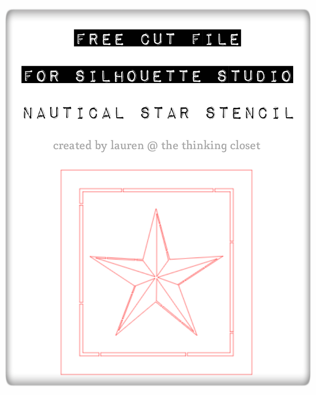 Free Silhouette Cut File for a Nautical Star Stencil...perfect for a patriotic banner or nautical decor.