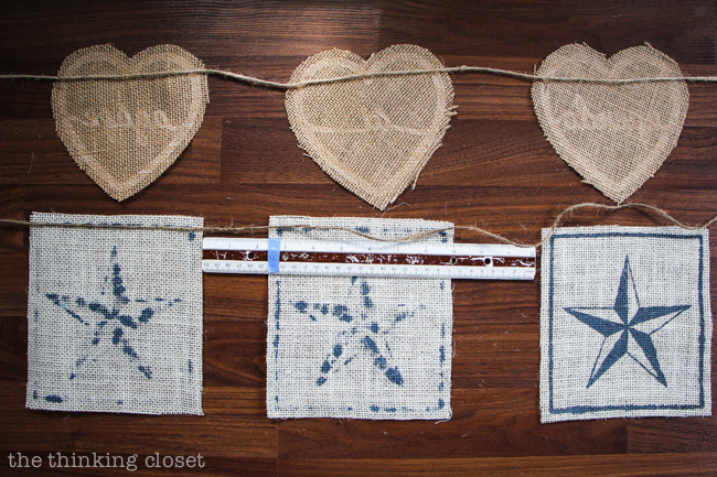 Assembling the Nautical Star Burlap Banner.