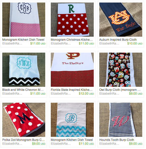 Burp Cloths by Elizabeth Rash Designs, Featured in The Thinking Closet's Spring 2014 Reader Showcase