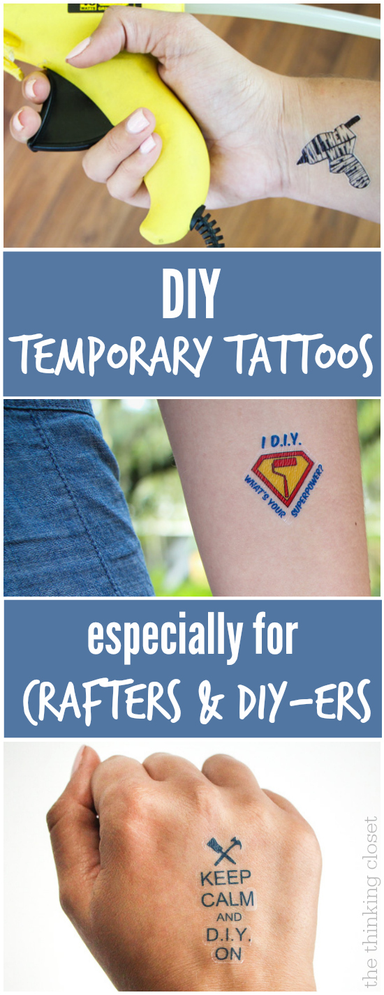 DIY Temporary Tattoos!  Such a fun addition to business cards, especially for crafters and DIYers.  Tutorial includes FREE cut files!
