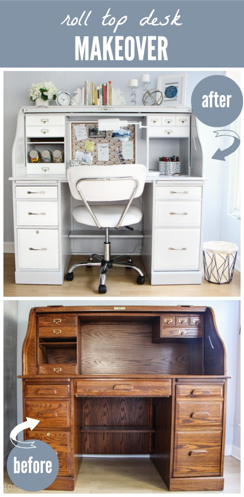 Roll-Top Desk Makeover! Such a dramatic before & after. Amazing what fresh paint and a little vision can do!