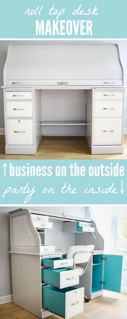 Well-known Roll-Top Desk Makeover: Business on the Outside, Party on the  LH08