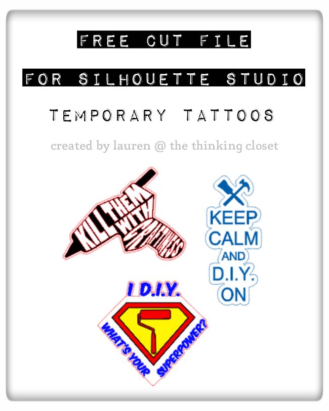 FREE Silhouette Cut File for Temporary Tattoos: Fun for crafters and D.I.Y.ers.  These would be great on t-shirts and tote bags, too!