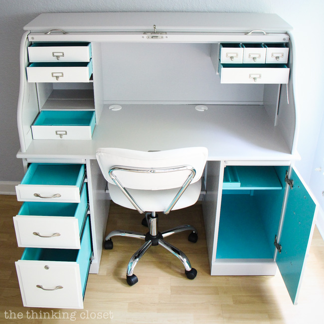 Roll Top Desk Makeover.  The best part?  The element of surprise on the inside of the drawers: gem turquoise!