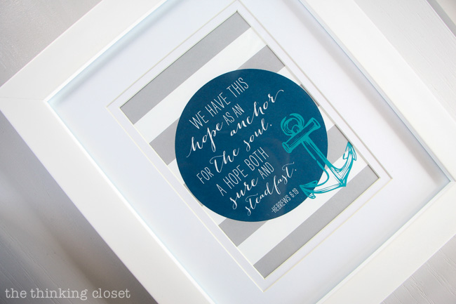 "Such an inspirational printable of Hebrews 6:19 by Michelle Hickey of Elegance & Enchantment. Available for FREE download. ""We have this hope as an anchor for the soul...."""