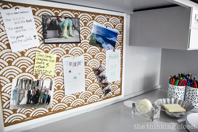 Scallops Allover Stenciling on a corkboard - - brings a beachy vibe to this Roll-Top Desk Makeover!