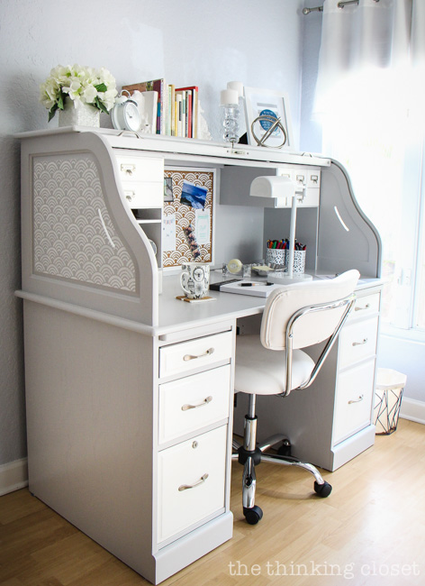 In love with this Scallops Allover Stencil by Royal Design Studio and how it adds a pop of interest to the side panels and corkboard on this Roll-Top Desk!