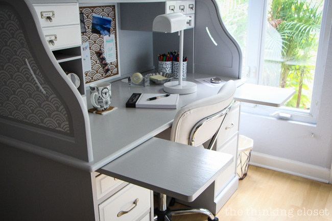 Desk Styling 101: Don't Over-Style! Try to keep an open workspace with only items you use regularly out on the desktop.