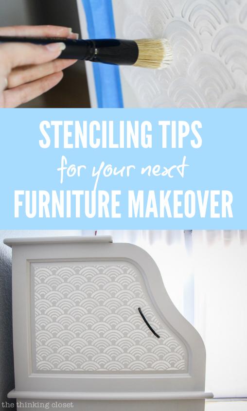 Adding Scallop Stencil Details to a Roll-Top Desk - the