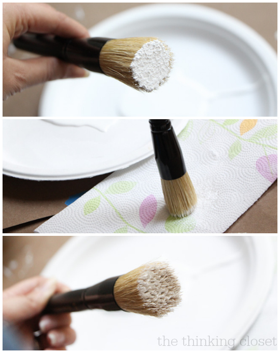 It's so important to remove most of the paint from your brush before stenciling to avoid bleeding.