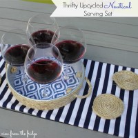 Thrifty Upcycled Nautical Serving Set