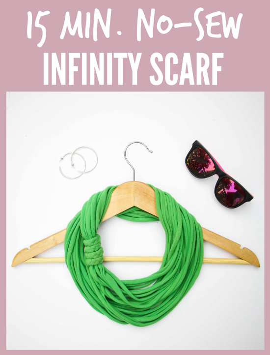 15 Minute T-Shirt Yarn Infinity Scarf.   This is one of those rare projects that really only takes 15 minutes. On your first try! This entertaining video tutorial will walk you through every fun step in the process. So, grab an old t-shirt from the closet and prepare to transform it into a chic infinity scarf!