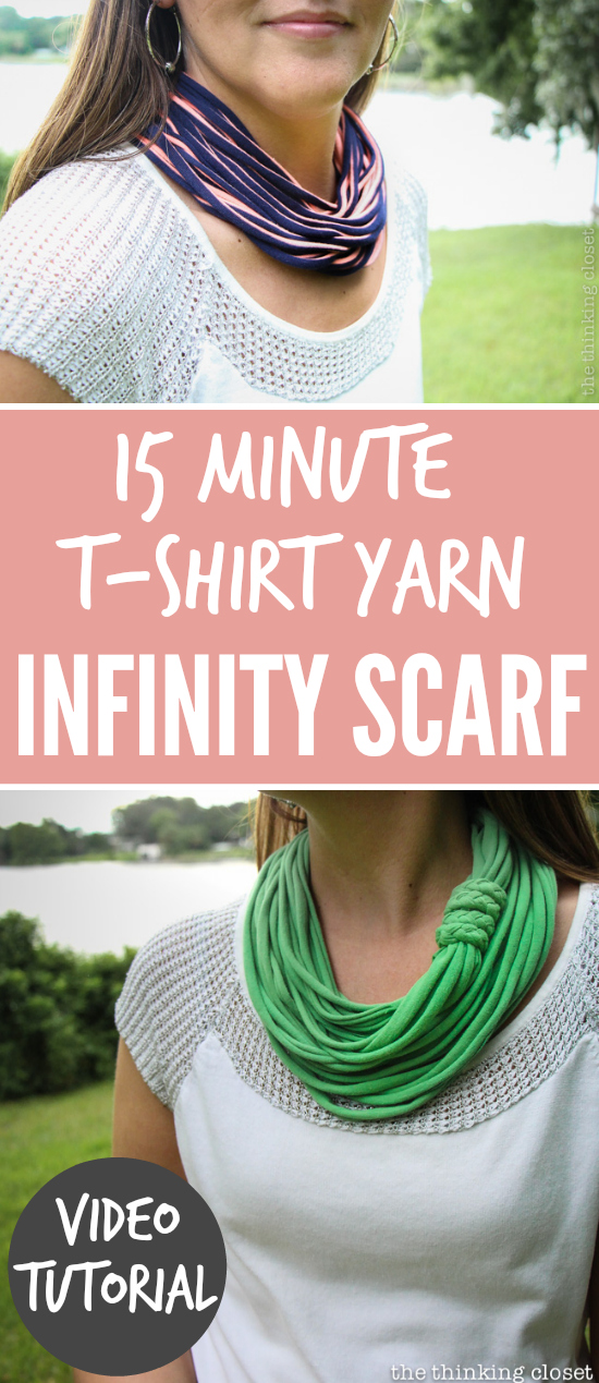 3840dfeea9fe1 15 Minute T-Shirt Yarn Infinity Scarf: Video Tutorial - the thinking ...
