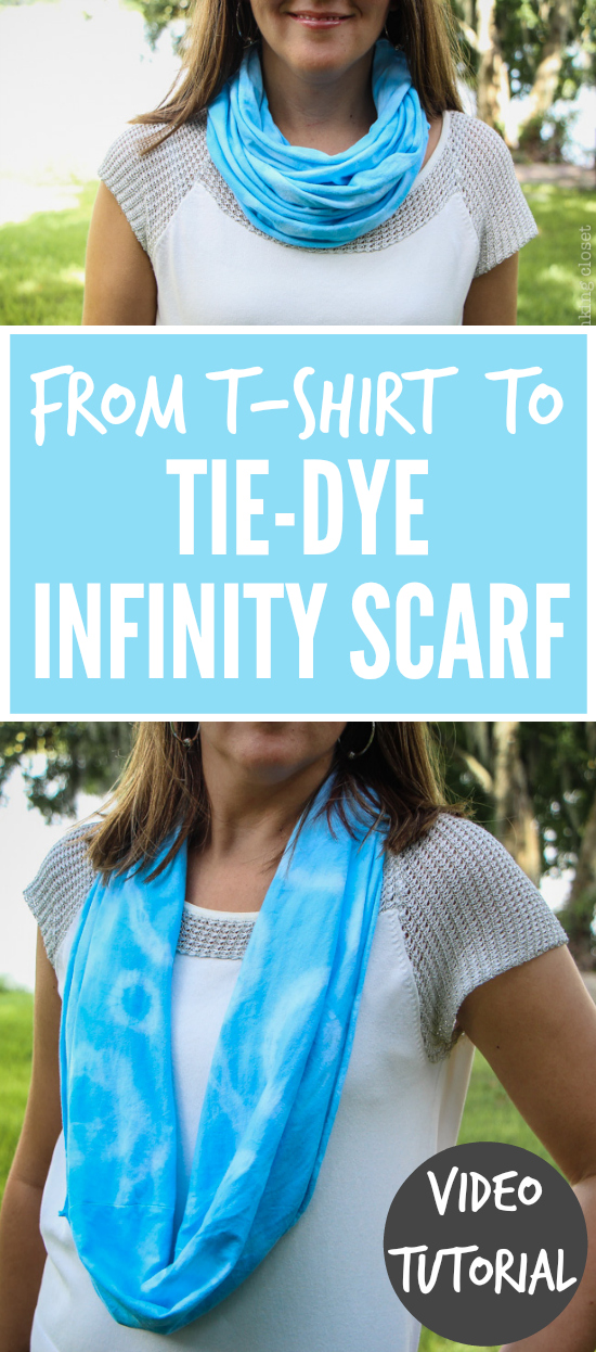 "How to transform a ""plain white tee"" into a vibrant Tie-Dye Infinity Scarf!  Check out this entertaining and easy-to-follow step by step VIDEO TUTORIAL...just 1 of 16 during Scarf Week!"
