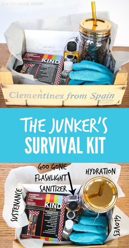 """The Junker's Survival Kit!  All of the necessities for a fun """"junking"""" expedition - - everything from hydration and sustenance to flashlights and gloves for finding those """"buried"""" treasures at the flea market!"""