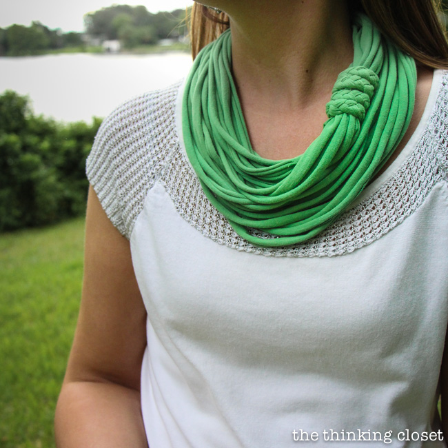 15 Minute T-Shirt Yarn Infinity Scarf.  Upcycle an old t-shirt into a chic infinity scarf.  The video tutorial will walk you through every step in the process.  This is one of those rare projects that really only takes 15 minutes.  On your first try!
