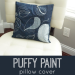 Puffy Paint Pillow Cover! | Puffy paint is baaaaack, folks, and looking chic as ever. Emily has some great tips and tricks for using puffy paint to embellish d.i.y. envelope pillow covers. Such a fun and easy way to change up decor!