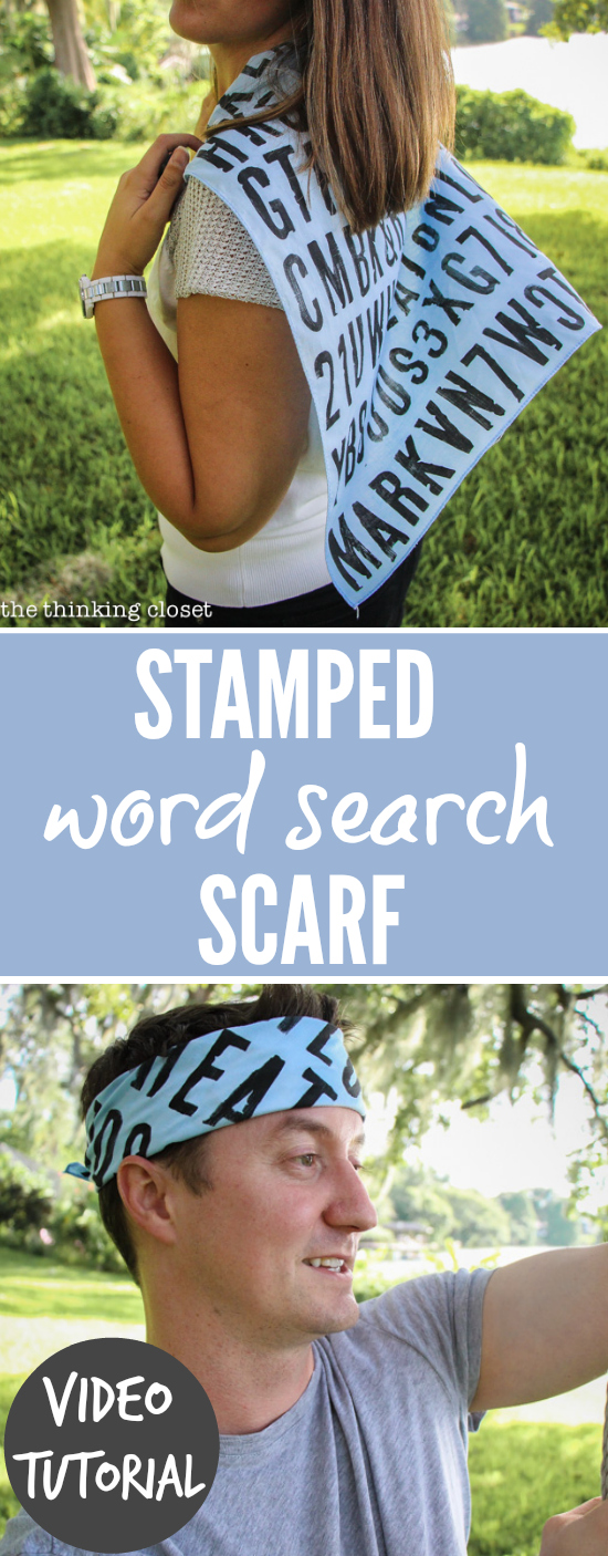 "With a stamped ""Word Search"" scarf or bandana, you can create a gift of great significance for any person of any age  In this video tutorial, learn how to transform any acrylic paint into fabric paint; and pick up a handy dandy method for stamping straight(ish) lines on a square scarf.  Happy Scarf Week!"