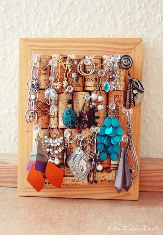 DIY Cork Jewelry Display: 1 of 10 Inspiring DIY Jewelry Displays at thinkingcloset.com. Don't you love it when organization can simultaneously inspire?