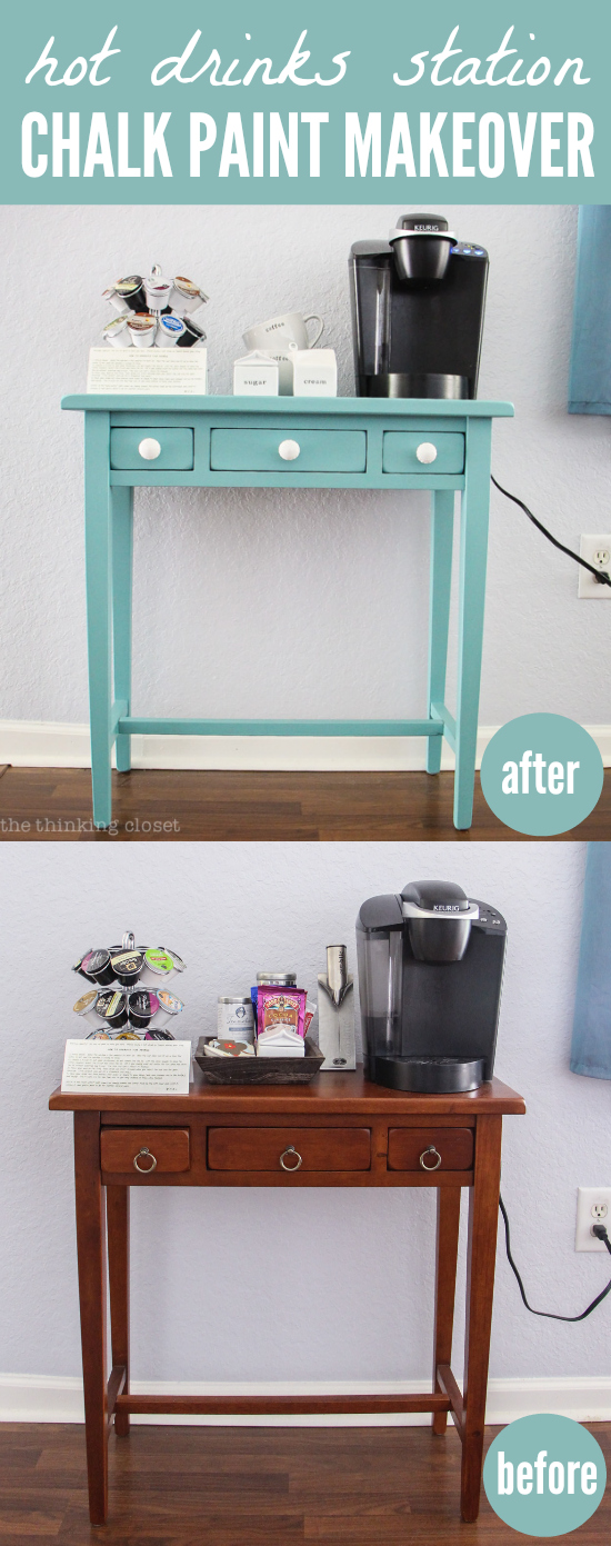 Hot Drinks Station - Chalk Paint Makeover using Chalk Paint decorative paint by Annie Sloan in Provence | Tutorial with step by step breakdown for beginners! There is NO need to be intimidated by this medium any longer. Trust me! You are going to fall in love.