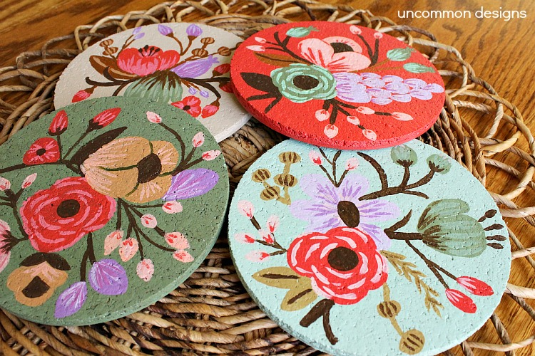 Botanical Custom-Painted Cork Coasters by Uncommon Designs | One of a HUGE collection of DIY Drink Coasters over at thinkingcloset.com.  Such great gift ideas!