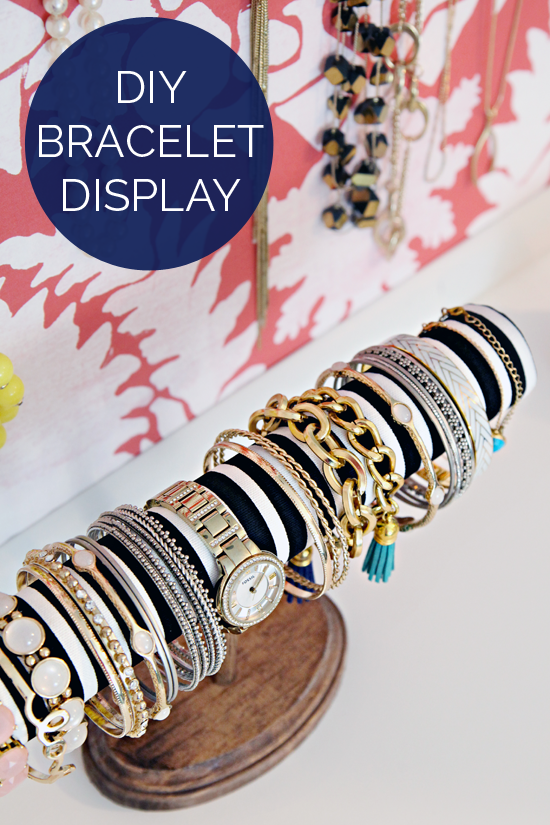 DIY Bracelet Display: 1 of 10 Inspiring DIY Jewelry Displays at thinkingcloset.com. Don't you love it when organization can simultaneously inspire?