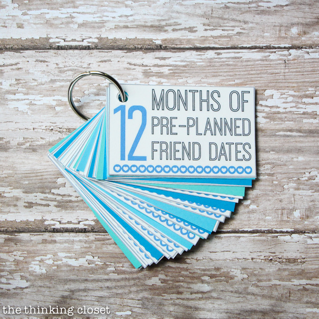 12 Months of Pre-Planned Friend Dates: FREE Printable Pack. Such a creative and meaningful gift idea. You can't beat the gift of quality time! Love that this printable comes with everything you need to adapt this for significant others, parent-kid dates, wedding gifts and beyond!