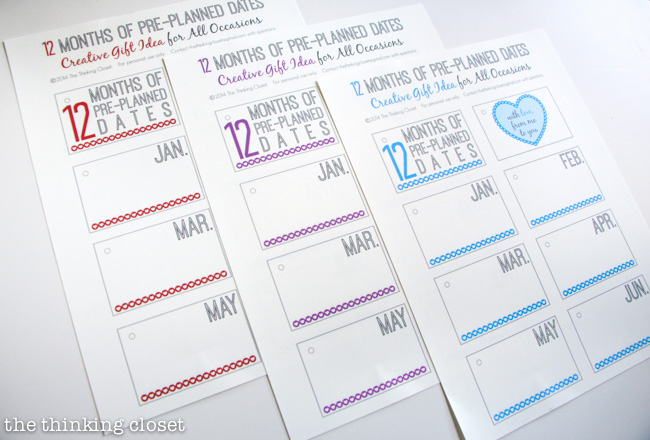 3 Different Color Schemes available in the 12 Months of Dates Printable Pack - - Red, Purple, Blue!