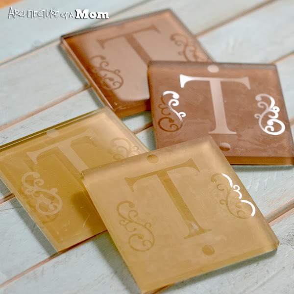 Etched Monogram Glass Tile Coasters by Architecture of a Mom | One of a HUGE collection of DIY Drink Coasters over at thinkingcloset.com.  Such great gift ideas!