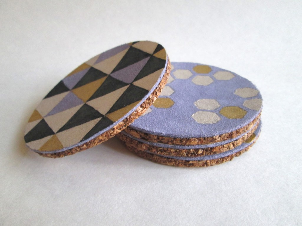 Painted Leather Coasters by Confessions of a Secret Crafter | One of a HUGE collection of DIY Drink Coasters over at thinkingcloset.com.  Such great gift ideas!