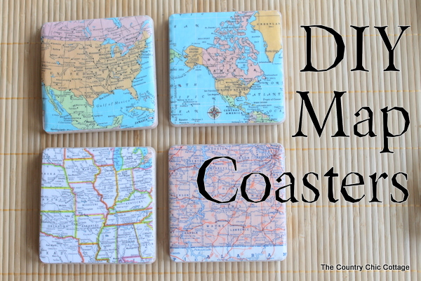 DIY Map Coasters by Country Chic Cottage | One of a HUGE collection of DIY Drink Coasters over at thinkingcloset.com.  Such great gift ideas!