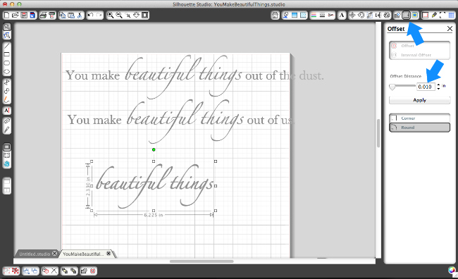 The Offset tool helps increase the thickness of your lettering...I only increased mine by .10 but it made a notable difference!