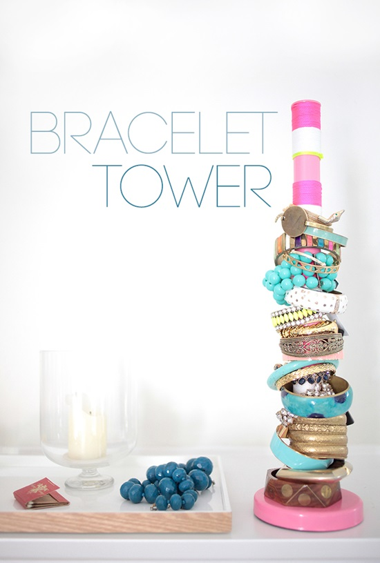DIY Bracelet Tower: 1 of 10 Inspiring DIY Jewelry Displays at thinkingcloset.com. Don't you love it when organization can simultaneously inspire?