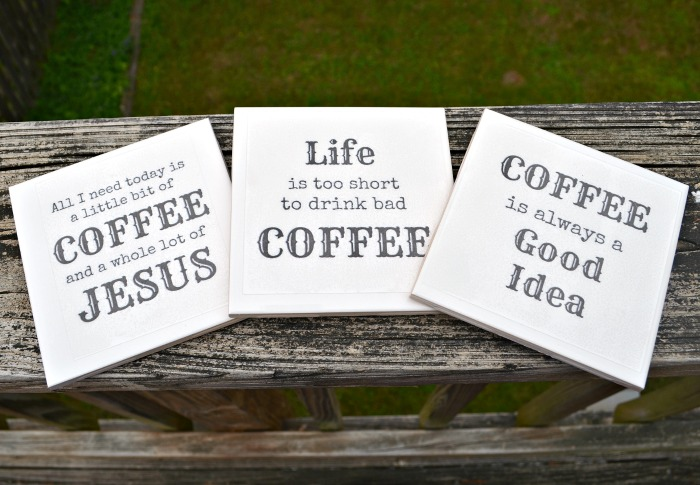 Motivational Tile Coasters by One Artsy Mama | One of a HUGE collection of DIY Drink Coasters over at thinkingcloset.com.  Such great gift ideas!